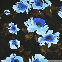Viscose imprimée Lili noir fleurs bleu