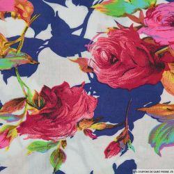 Viscose imprimée Ellie rose feuilles bleues