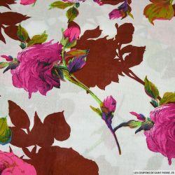 Viscose imprimée Ellie rose feuilles briques
