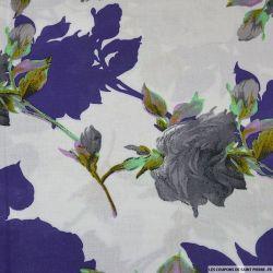 Viscose imprimée Ellie gris feuilles violettes