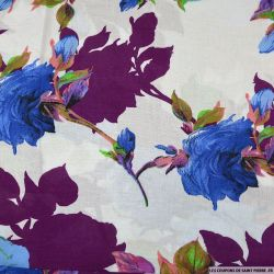 Viscose imprimée Ellie bleu feuilles prunes