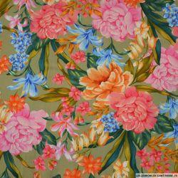 Crèpe Viscose imprimé fleurs Amour kaki
