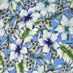 Viscose imprimée Isabelle fond bleu