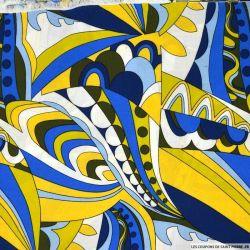 Viscose imprimée spirale jaune et bleu