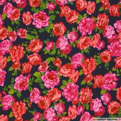 Viscose imprimée rosiers pimprenelle fond marine