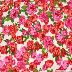 Viscose imprimée rosiers pimprenelle fond blanc