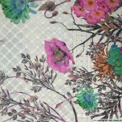 Broderie anglaise sequins Sakura fuchsia et vert fond écru