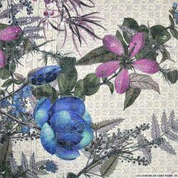 Broderie anglaise sequins fukiyose violet et bleu fond écru