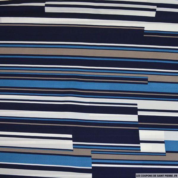 Satin de polyester fin imprimé rayé bleu