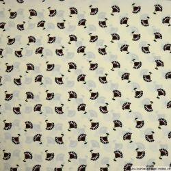 Microfibre polyester imprimée éventail fond crème