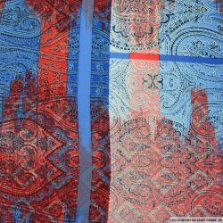 Microfibre polyester imprimée arabesque rouge et bleu
