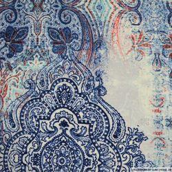 Microfibre polyester imprimée folie bleu fond blanc