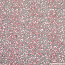 Piqué de coton imprimé rosier sur fond gris