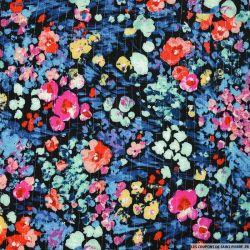 Crépon viscose lurex imprimé mois de juin turquoise et rose fond noir