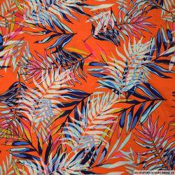 Microfibre polyester imprimée palmier fond orange