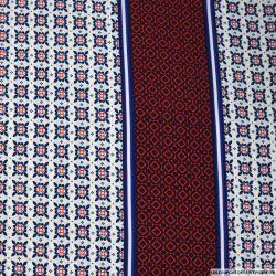 Microfibre polyester imprimée azulejos bleu et rouge