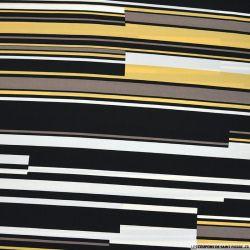 Microfibre polyester imprimée abeille fond noir et ambre