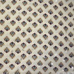 Microfibre polyester imprimée paon doré fond beige