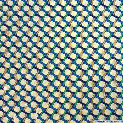 Microfibre polyester imprimée torsade vert et bleu