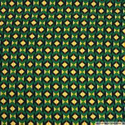 Microfibre polyester imprimée sablier jaune fond vert