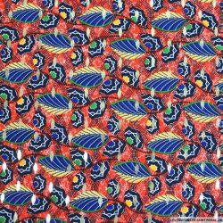 Microfibre polyester imprimée ethnique et doré fond rouge