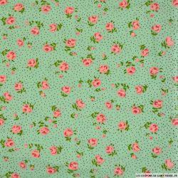 Viscose imprimée pois noir et fleurs roses fond vert blanc