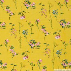 Viscose imprimée gaieté florale fond jaune