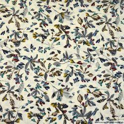 Gaze polyester imprimée oiseaux fond ecru