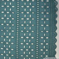Coton brodé festonné bleu sarcelle