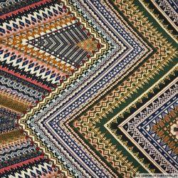 Gaze polyester imprimée aztèque marron