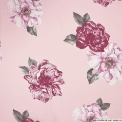 Mousseline polyester bordeaux fond rose