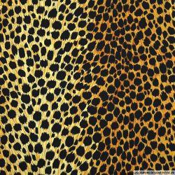 Polycoton imprimé léopard jaune et noir