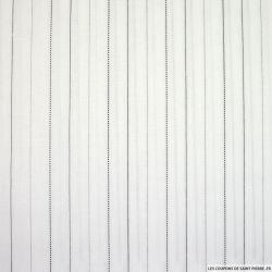 Voile polycoton hachuré noir fond blanc
