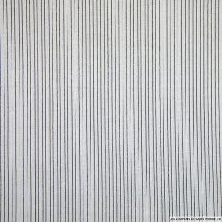 Voile polycoton petites rayures noires fond blanc