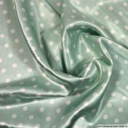 Satin polyester imprimé pois fond vert d'eau