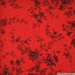 Lin viscose imprimé des plantes en fleurs fond rouge