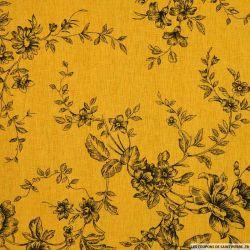 Lin viscose imprimé des plantes en fleurs fond jaune safran