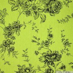 Lin viscose imprimé des plantes en fleurs fond vert anis