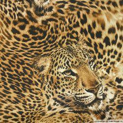 Satin polyester imprimé léopard marron