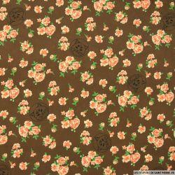 Crêpe viscose chat et fleur fond brun