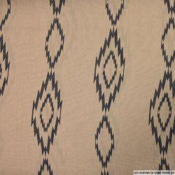 Mousseline polyester  imprimée éclair marron