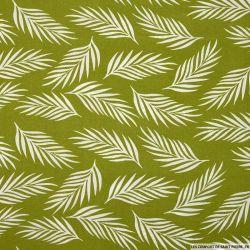 Popeline de viscose imprimée danse de fougère fond vert
