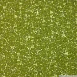 Popeline de viscose imprimée cercle étoilé fond vert