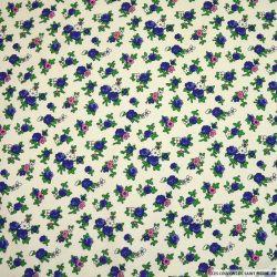 Velours coton imprimé fleurs fond crème