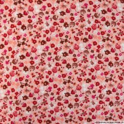 Double gaze imprimée tempête florale fond rose