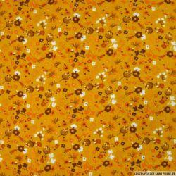 Double gaze imprimée tempête florale fond moutarde