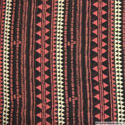 Mousseline rayé lurex imprimé aztèques rouge et noir