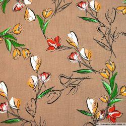 Crépon viscose tulipe fond beige