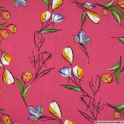 Crépon viscose tulipe fond rose