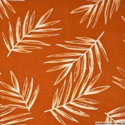 Lin viscose imprimé fougères fond orange